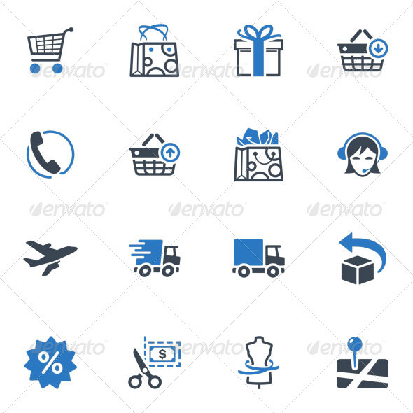 GraphicRiver Shopping and E-commerce Icons Set 1 Blue Series 3623904