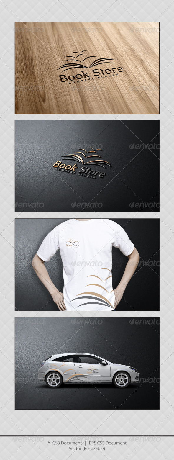 GraphicRiver Book Store Logo Templates 3623929