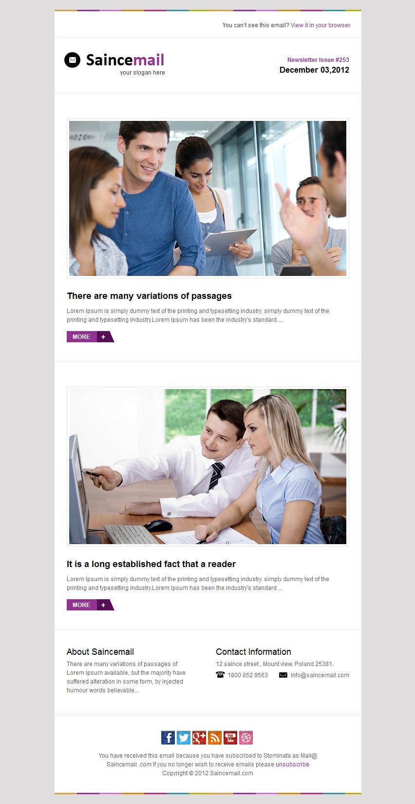 Saincemail E-mail Template