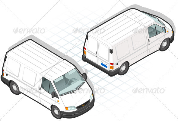 GraphicRiver Isometric White Van in Two Position 3624180
