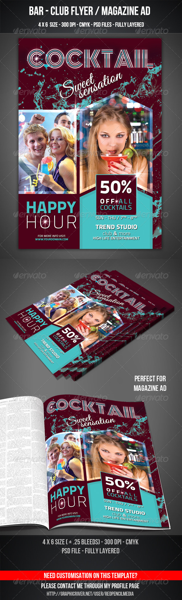 GraphicRiver Cocktail Club Bar Flyer 3589653