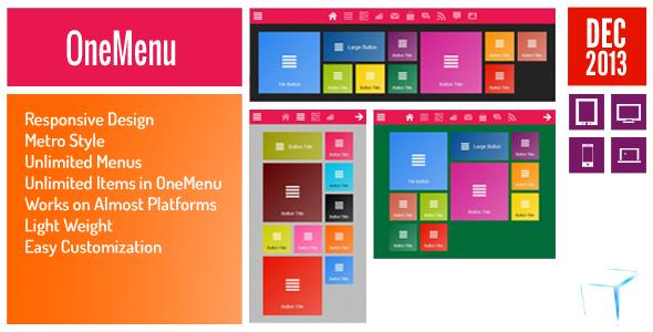 CodeCanyon OneMenu Responsive Metro UI Menu 3624362