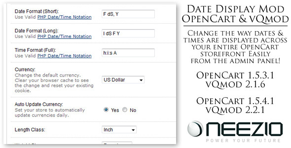 Custom Date Display Module for OpenCart (vQmod) - CodeCanyon Item for Sale