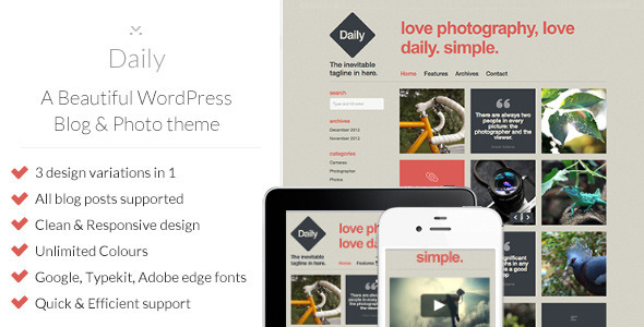ThemeForest Daily A Beautiful WordPress Blog & Photo theme 3618534