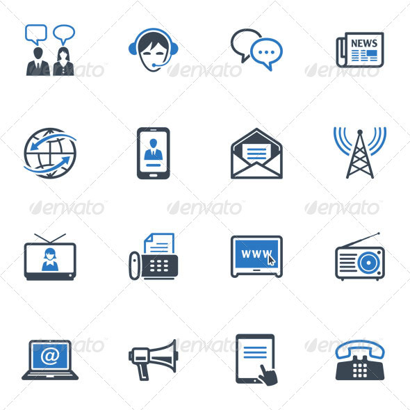 GraphicRiver Communication Icons Set 2 Blue Series 3626811