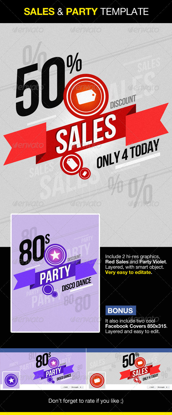 Sales and Party Graphics Facebook cover included