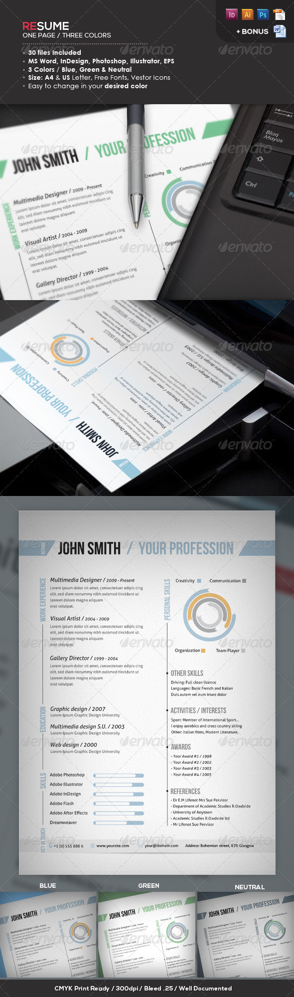 Ready One Page Resume | CV - Resumes Stationery