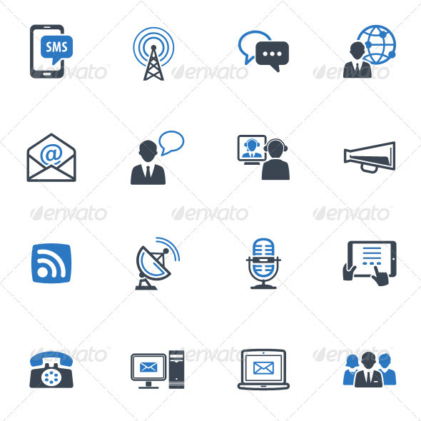 Communication Icons Set 1 - Blue Series - Web Icons