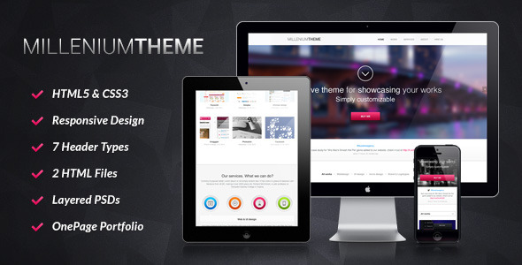 MILLENIUMTHEME HML5 CSS3 قبول ڈیزائن ہیڈر اقسام HTML فائلوں پرتوں PSDs OnePage پورٹ فولیو