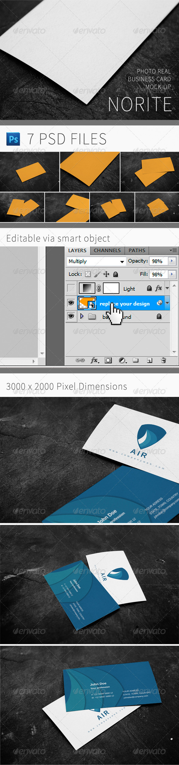 GraphicRiver Norite Photo Real Business Card Mock-up 3579062