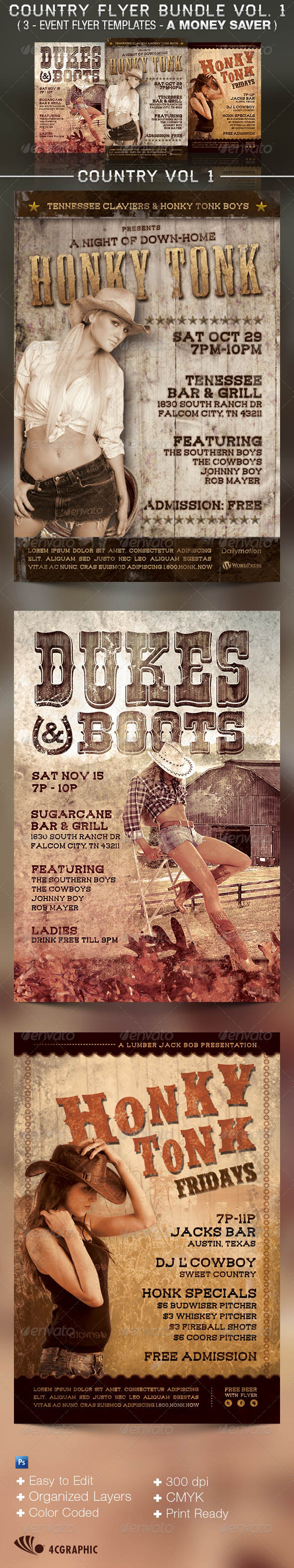 Honky Tonk Flyer Templates Bundle Vol. 1 - Clubs & Parties Events