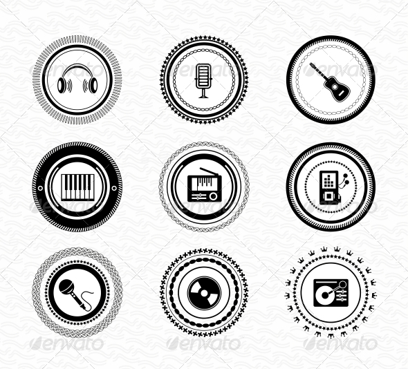 GraphicRiver Set of Vintage Retro Black Music Labels 3627761