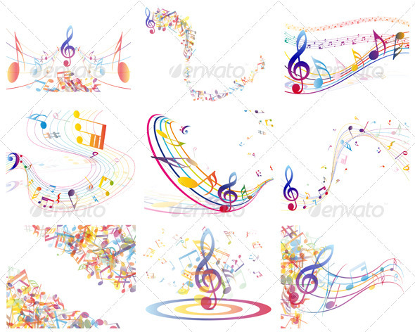 GraphicRiver Multicolor Musical Notes 3628721