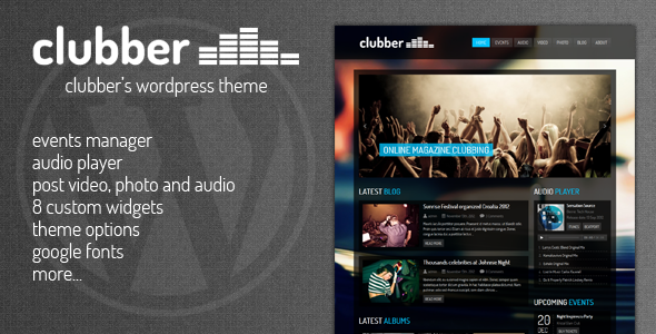 ThemeForest Clubber Events & Music WordPress Theme 3427687