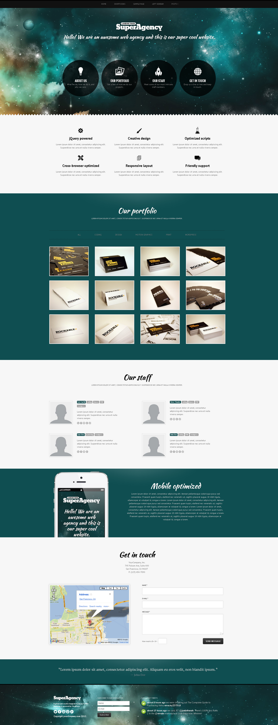 Super Agency - Responsive WordPress Single Page - Super Agency WordPress Theme - galaxy theme with creative header