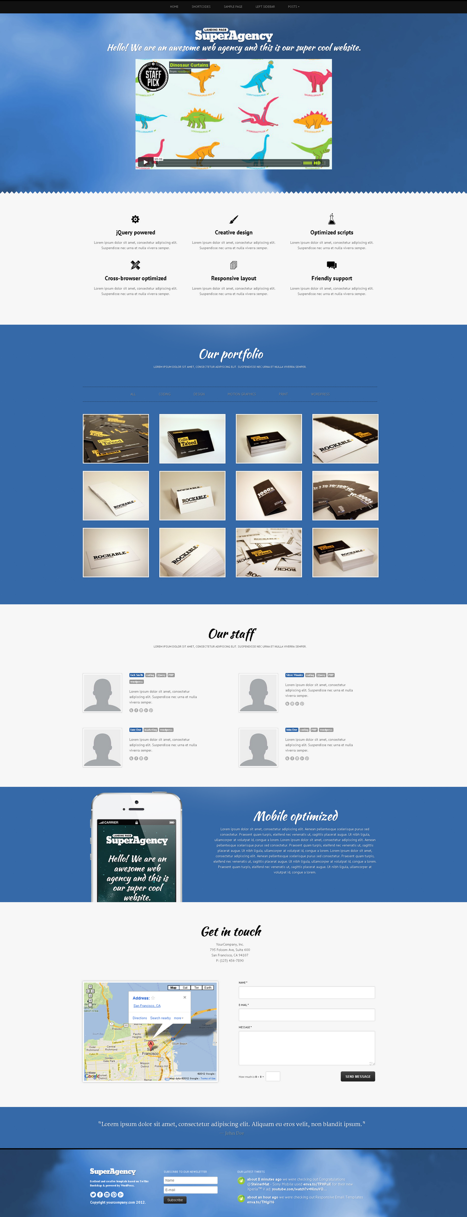 Super Agency - Responsive WordPress Single Page - Super Agency WordPress Theme - sky theme with slider header