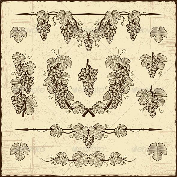 GraphicRiver Retro Grapes Collection 3628861