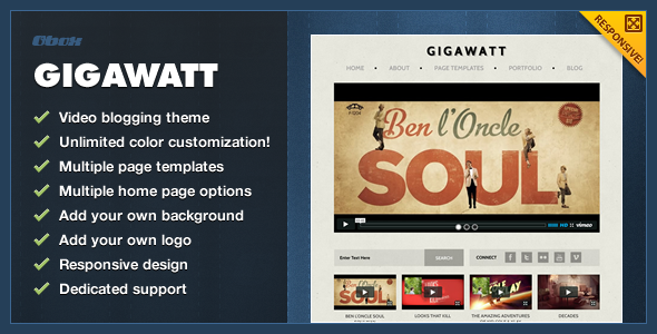 ThemeForest Gigawatt WordPress Video Theme 492944