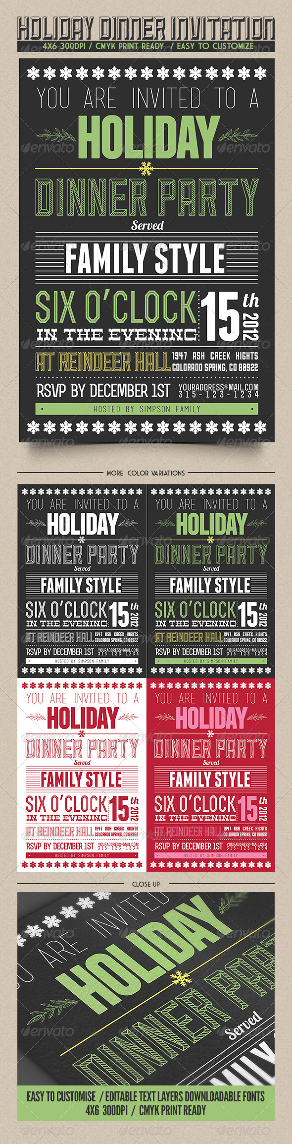 GraphicRiver Holiday Dinner Invitation 3629114