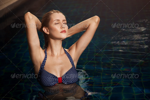 Young Woman Beauty Portrait In Swimming Pool - Stock Photo - Images