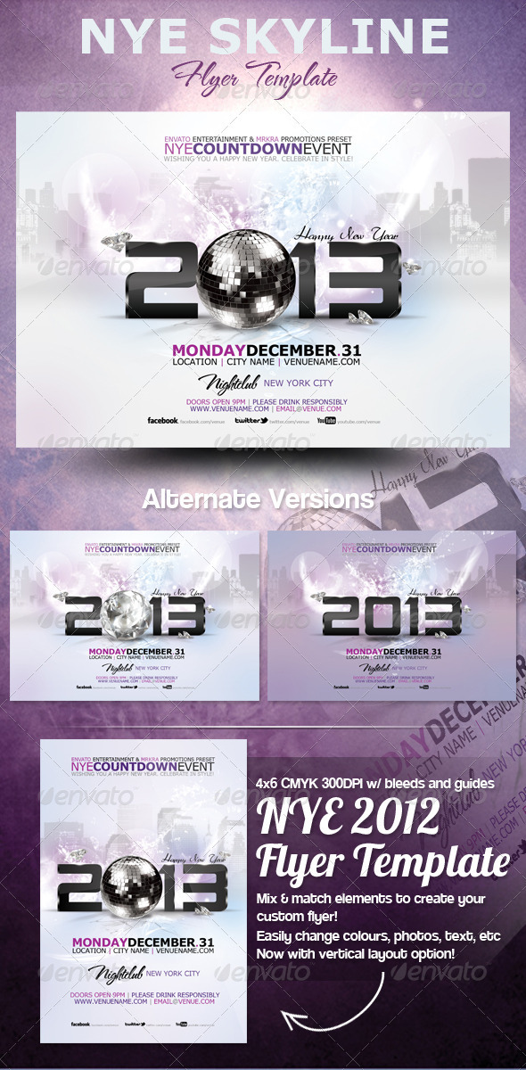 GraphicRiver NYE 2013 Skyline Flyer Template 3567322