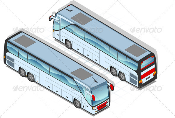 GraphicRiver Isometric Coach Bus in Two Positions 3629825