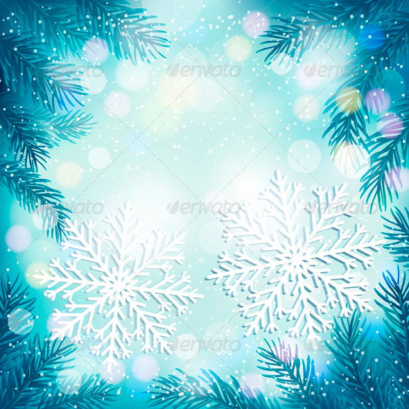 GraphicRiver Christmas Blue Background with Tree Branches 3630605