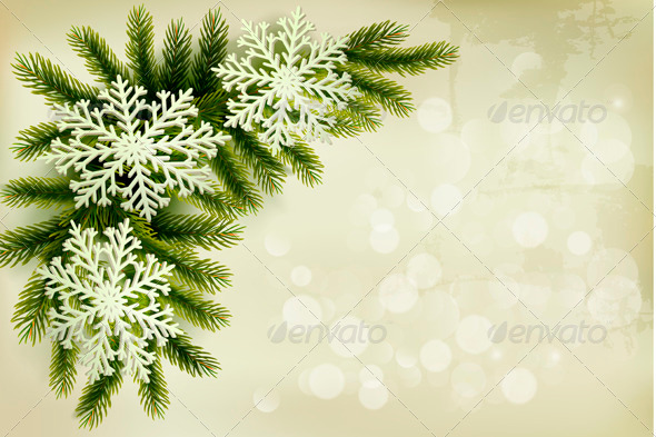 GraphicRiver Christmas Retro Background with Snowflakes 3630627