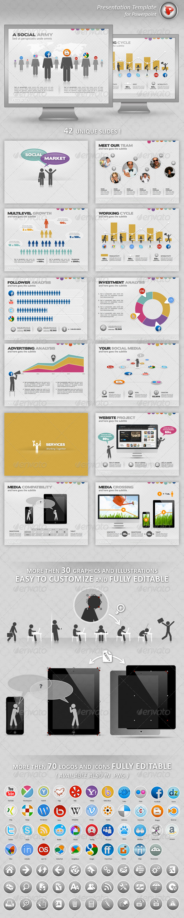 GraphicRiver Social Market Powerpoint Presentation 3630738