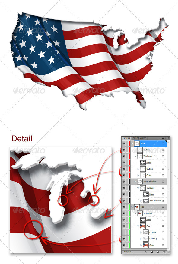 GraphicRiver US Flag-Map Inner Shadow 3630907