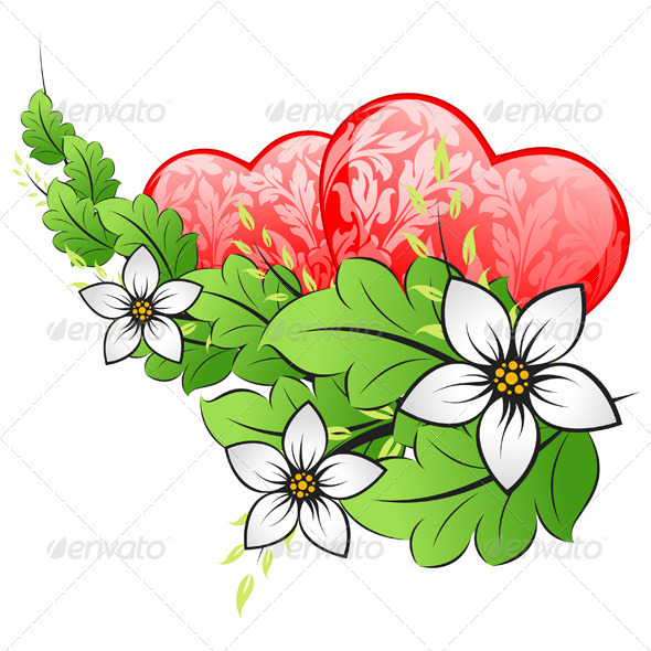 Valentines Day Card with Hearts Vector Background - Valentines Seasons/Holidays