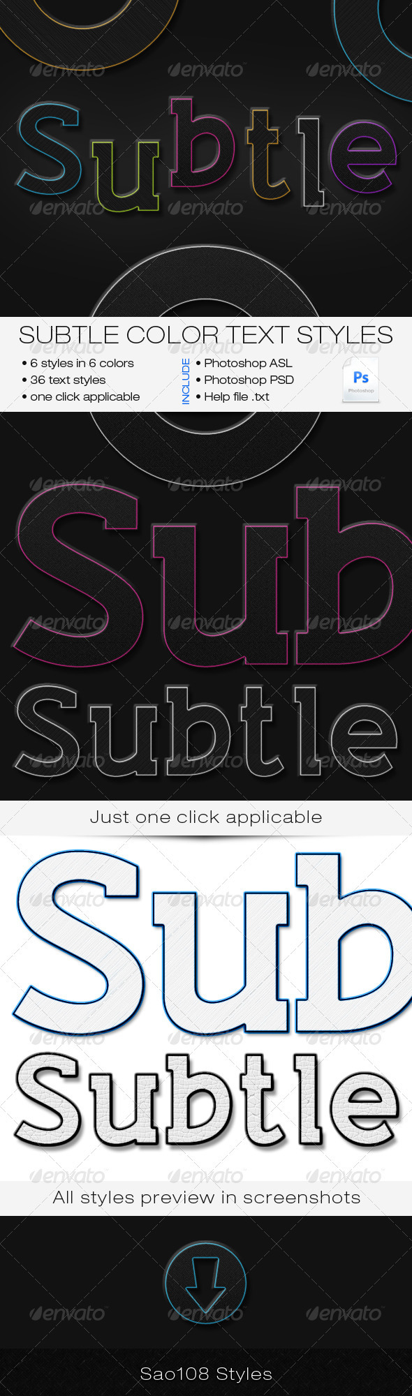 Subtle Color Text Styles - Text Effects Styles