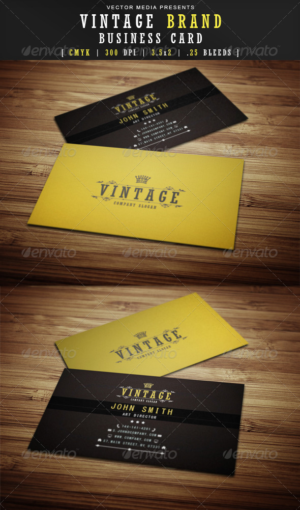 GraphicRiver Vintage Brand Business Card 3631439