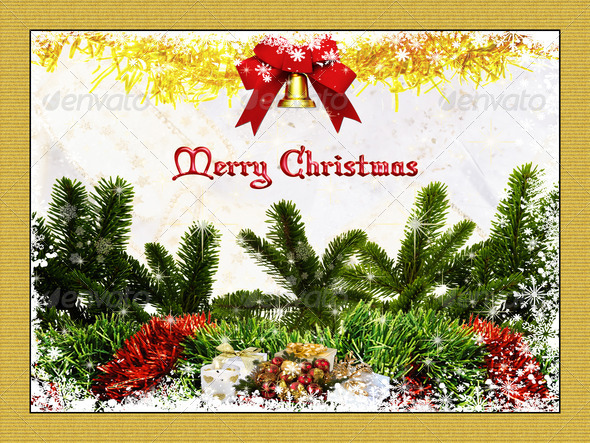 Merry Christmas Card 3 - Stock Photo - Images