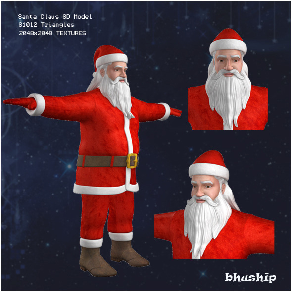 Santa Claus 3D Model - 3DOcean Item for Sale