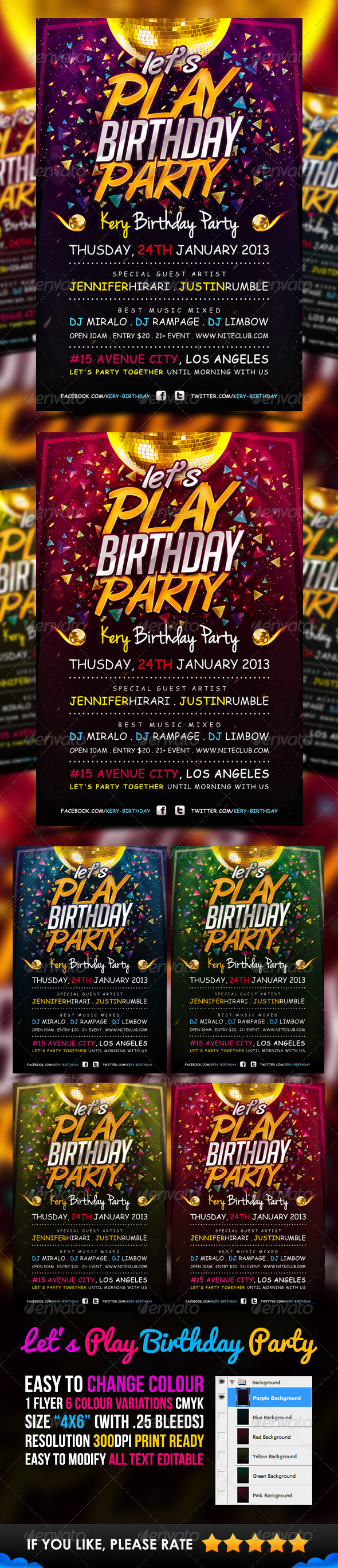 GraphicRiver Lets Play Birthday Party Flyer Template 3442369