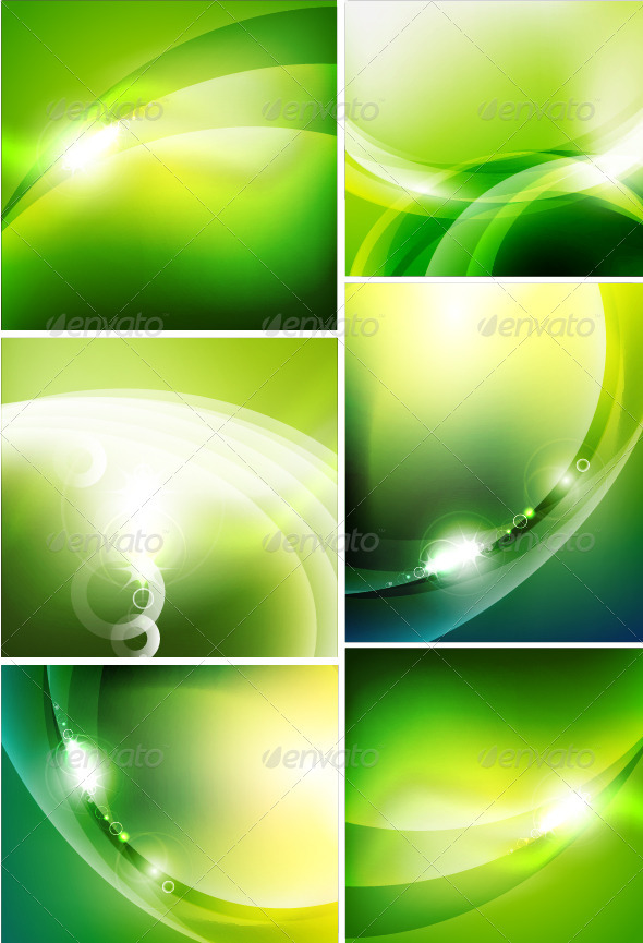 GraphicRiver Glossy Green Wave Backgrounds 3633474