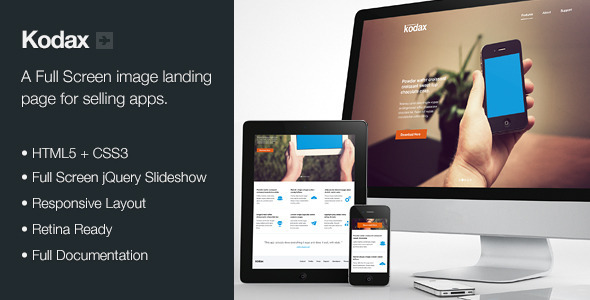ThemeForest Kodax Full Screen Landing Page 3634009
