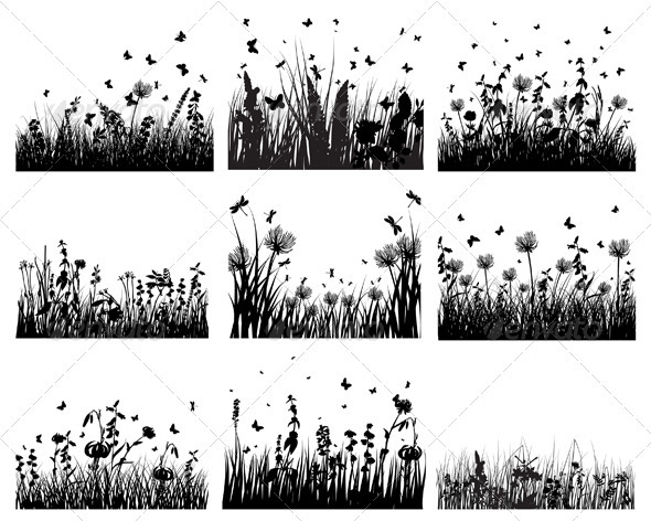 GraphicRiver Meadow Silhouette Set 3634199