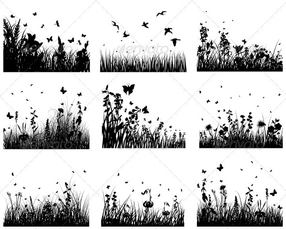 GraphicRiver Meadow Silhouette Set 3634201