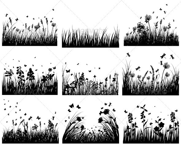 GraphicRiver Meadow Silhouette Set 3634245
