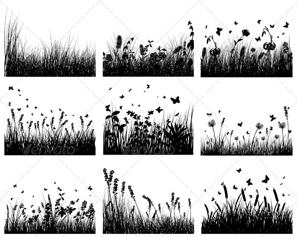 GraphicRiver Meadow Silhouette Set 3634263