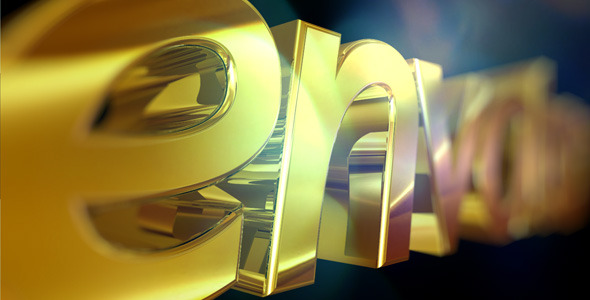 AE模板:三维黄金质感 企业公司logo展示 文字标题动画模板