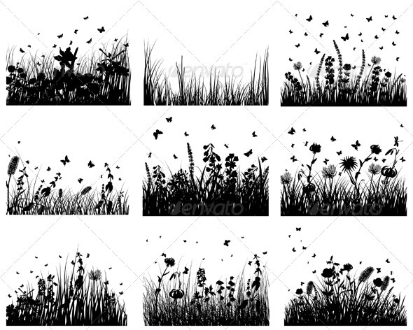 GraphicRiver Meadow Silhouette Set 3634295