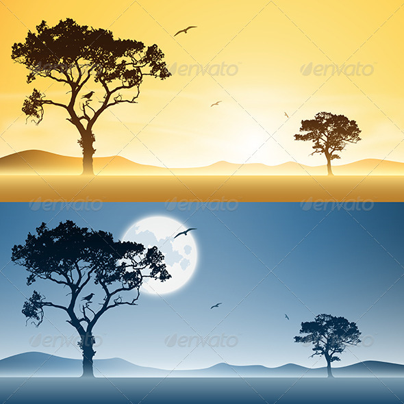 GraphicRiver Day and Night Landscapes 3634667