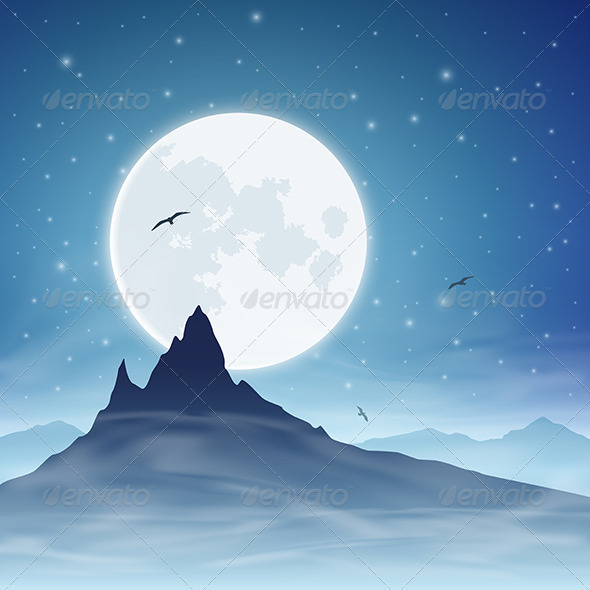 GraphicRiver Mountain and Moon 3634855