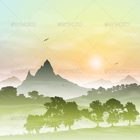 GraphicRiver Misty Forest Landscape 3634890