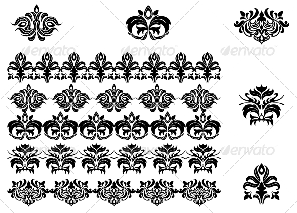GraphicRiver Flower Patterns and Borders 3634894