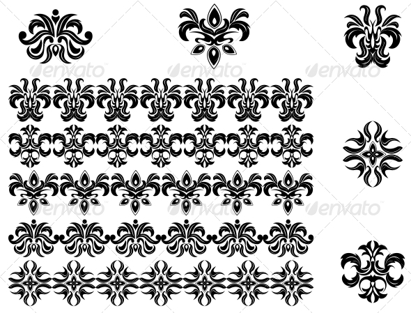 GraphicRiver Flower Patterns and Borders 3634902