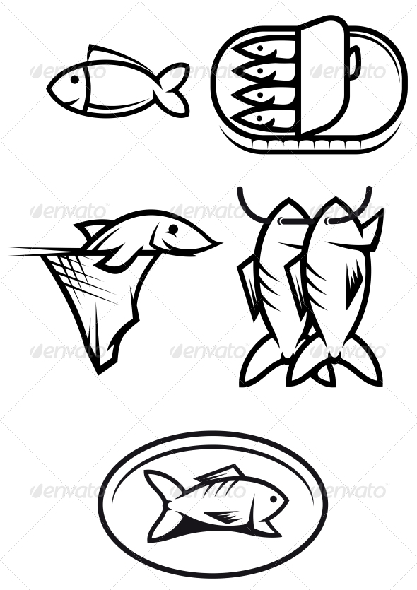 GraphicRiver Fish Food Symbols 3634908